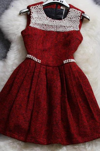 Beaded Woolen Vest Dress