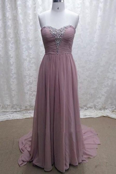 Pretty Custom-made Floor Length Chiffon Sweetheart Prom Dresses 2015 with Beadings, Prom Gown, Chiffon Prom Gown, Evening Dresses