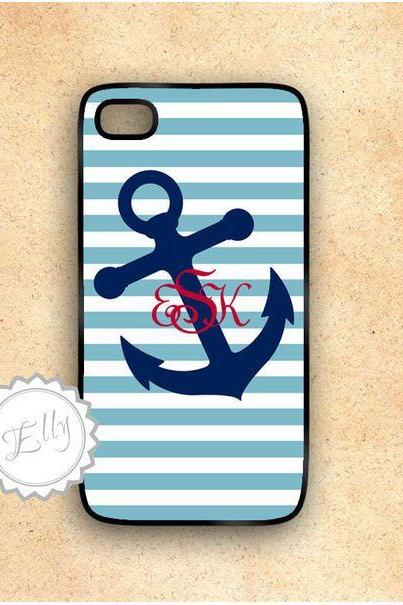 Anchor nautical stripes custom monogram iphone case hard cover