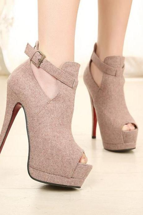 Women's Cut Out Strap Faux Suede Peep Toe Ankle Boots