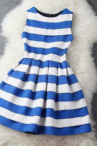 Fashion Luxury Blue And White Stripe Dress
