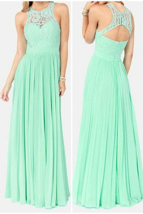 High Quality Bridesmaid Dresses,Handmade Lace Mint Floor Length Chiffon Prom Dresses , Evening Gown, Formal Dresses, Prom Dresses,O-Neck Prom Dresses