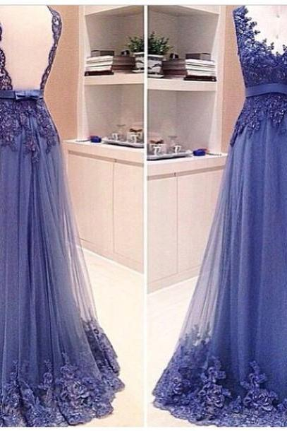 Custom Made Backless V Neck Lace Prom Dresses 2015, Backless Lace Evening Dresses, Lace Formal Dresses