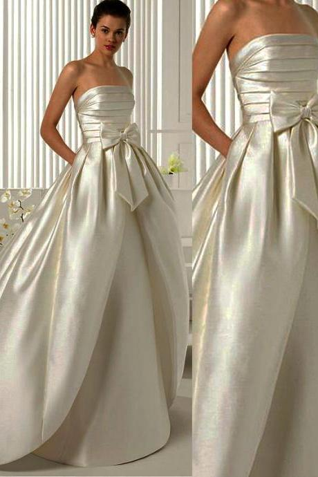 Wd182 Satin Wedding Dress, Strapless Wedding Dress, Wedding Dress with Bow