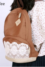 New Fresh Simple Cute Lace Canvas Backpacks