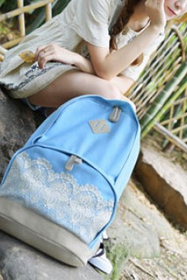 New Fresh Simple Cute Lace Canvas Backpacks for girl
