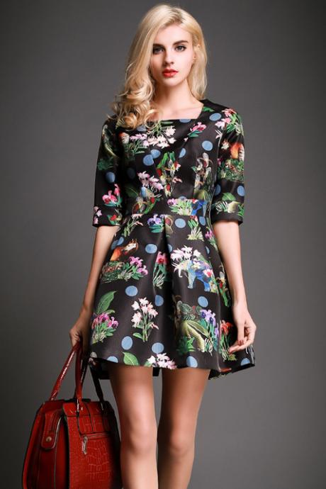 A word skirt day silk flower cultivate one's morality dress--black