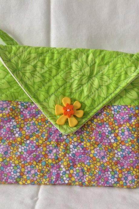 Handmade girls purse quilted girls purse girls hand bag green quilt purse