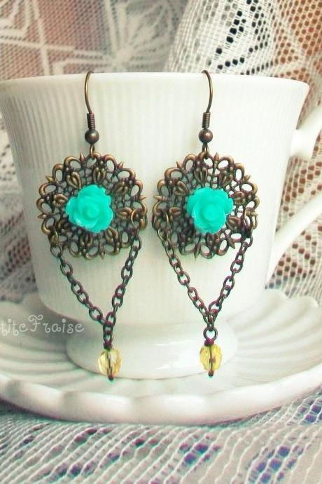 'Éile' filigree earrings - 'Treasures' collection, vintage style teal aqua chandelier earrings