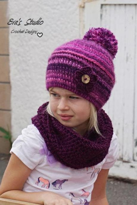 Crochet Children's Hat and Neck Warmer, Crochet Set, Pattern PDF, Hat Crochet Pattern ,Pattern No. 79