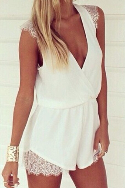 Deep V Neck Sexy White Lace And Chiffon One Piece Jumpsuit
