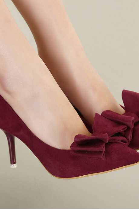 Suede Pointed-Toe Stiletto Pumps with Bow Accent