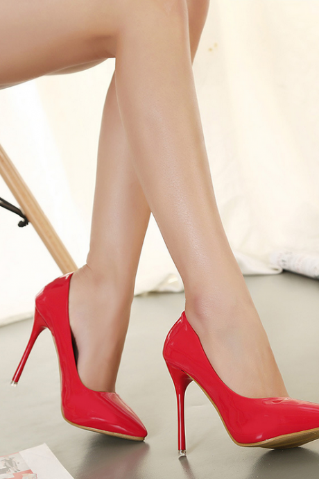 2015 designer shoes Europe and the United States pointed high-heeled pure color PU women's shoes-red