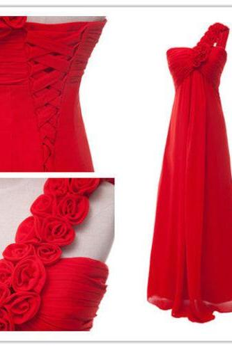 2015 fashion A line one shoudler chiffon prom Dresses long train lace up evening dress Bridesmaid dresses custom made