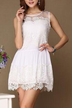New fashion cheap price Slim Embroidered Sleeveless Dress