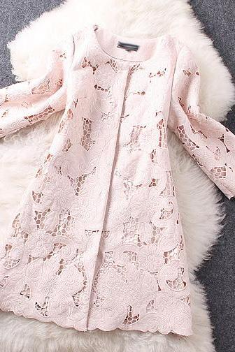 Embroidered Crochet Wool And Cotton Top Coat Jacket In Pink