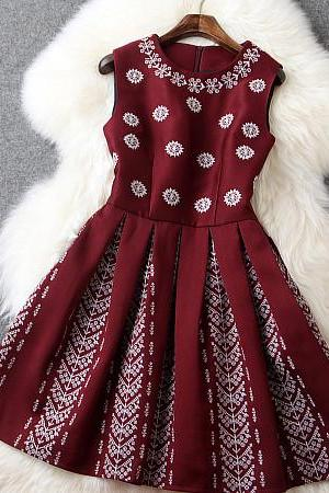 Embroidered Dress In Red