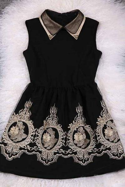 Embroidered Dress With Collar In Black