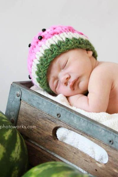 Sale -- Watermelon Baby Hat -- Photography Prop