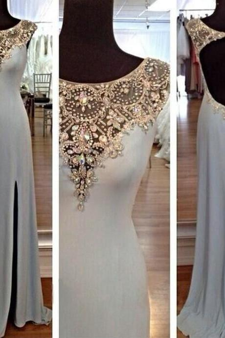 Charming Sequins Rhinestones Round Neck Long Prom Dresses Evening Dresses AZ901CB