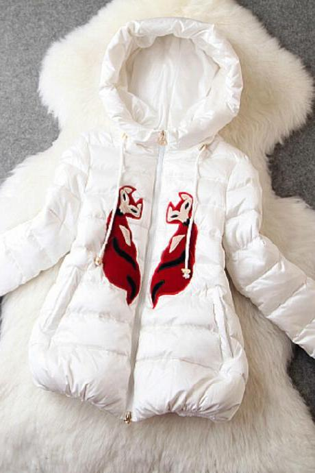 Cartoon Embroidered Hooded Down Coat PL1107BE