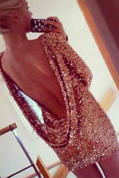 Gorgeous Metallic Gold Sequined Backless Party Dress