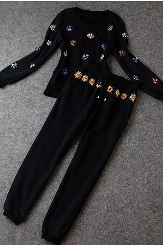 Heavy Hand-set Diamond Fashion Jacket + Pants CA922EB