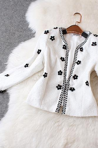 High-end Fashion Beaded Wool Coat AZ901CI