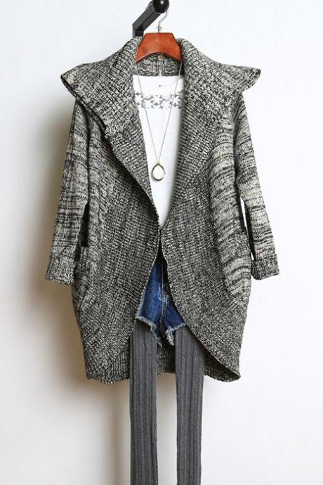 Irregular Loose Long-sleeved Cardigan Sweater AZ910I