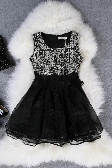 Sexy Puff woolen vest dress