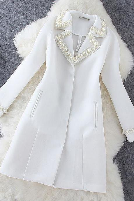 Fashion Pearl Mesh Long Coat Jacket GG716E