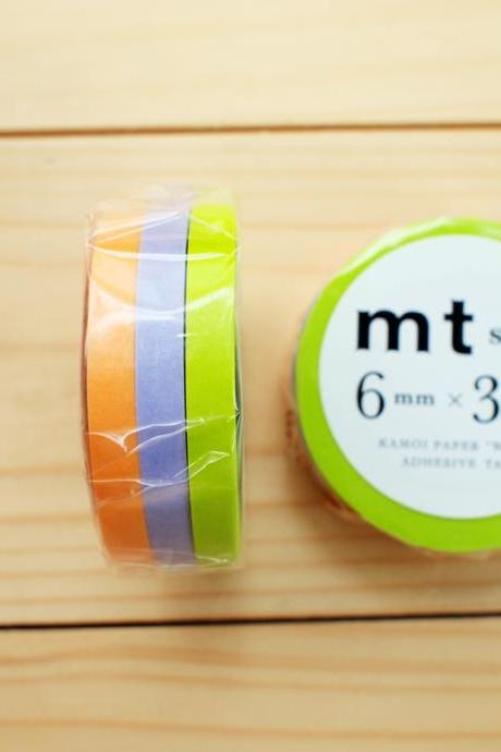 Japanese Masking Tape, Slim type, Lime Green, Apricot, Pale Wisteria