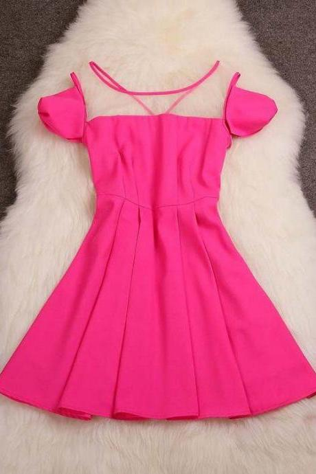Fashion Candy Color Stitching Dresses J707J