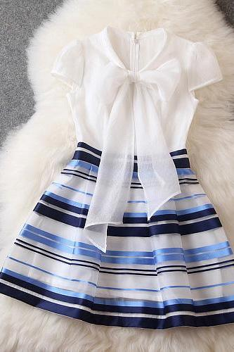 Fashion Contrast Color Bow Striped Dress MX61219
