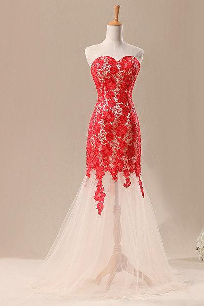 Strapless Sweetheart Lace Appliqués Sheer Mermaid Long Prom Dress, Evening Dress Featuring Lace-Up Back