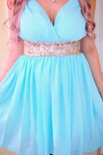 Custom Pretty Blue Short Sexy V-neckline Chiffon Prom Dresses 2015 with Sequins Belt, Homecoming Dresses, Blue graduation Dresses, Bridesmaid Dresses