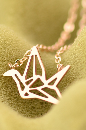 Cutout Paper Crane Pendant Necklace