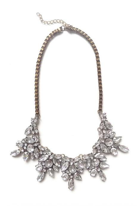 White crystal statement necklace for bridesmaid bridal wedding jewelry
