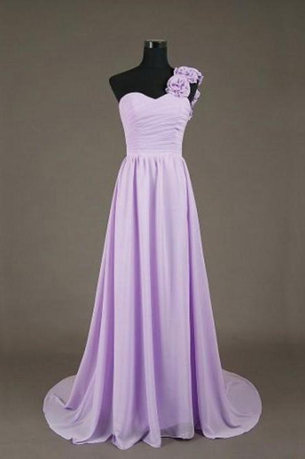 Custom Long Floor Length Chiffon Sweetheart Prom Gown 2015, PromDresses,Purple Bridesmaid Dresses,Cute Formal Dresses,Eveening Dresses