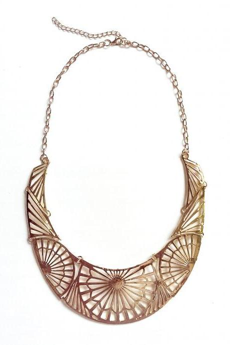 Chunky gold bib necklace, gold statement necklace