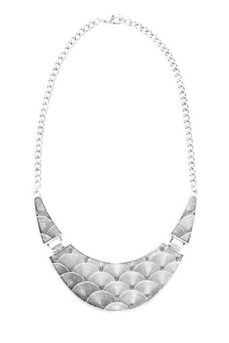 Silver egyptian statement necklace, silver bib necklace, silver chunky collar necklace