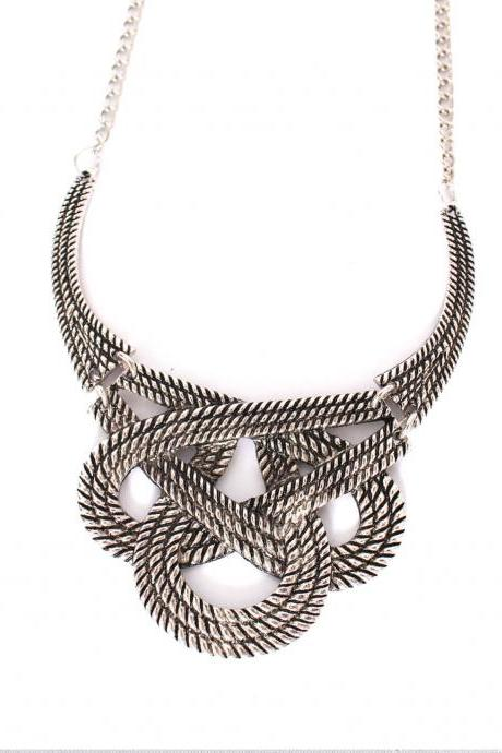Silver statement necklace, golden bib necklace