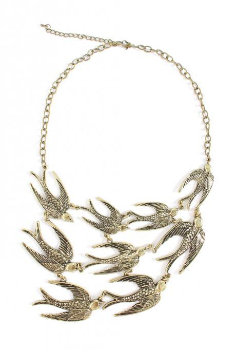 Bird statement necklace, gold bib necklace gift idea for her