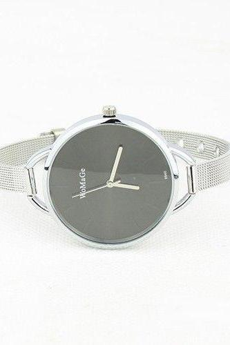 Evening black Classy Steel Strap Woman Watch