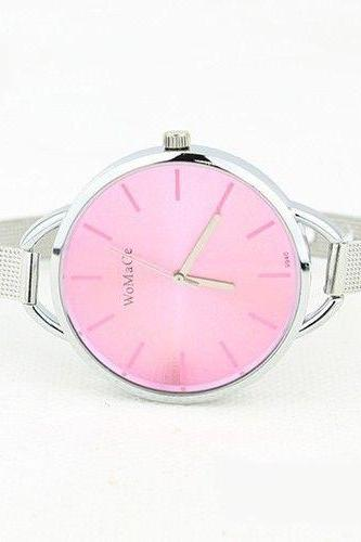 Evening pink Classy Steel Strap Woman Watch