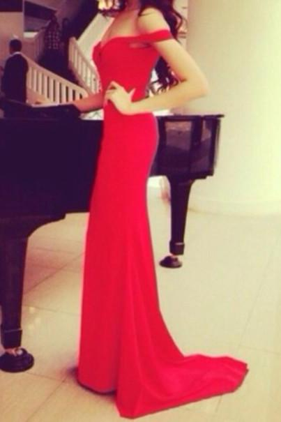 Custom Made Off Shoulder Red Long Prom Dresses with Train, Red Long Formal Dresses, Evening Dresses 2015