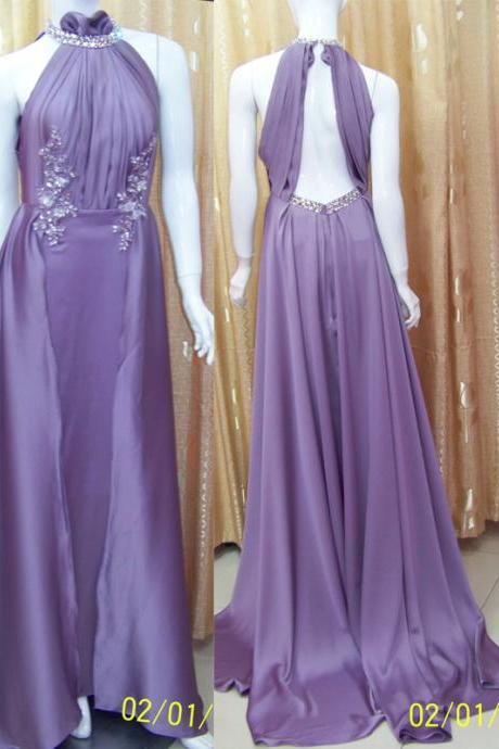 Pd199 Elegant Prom Dress,Satin Prom Dress,Halter Prom Dress,Sexy Prom Dress,Backless Prom Dress,Prom Dress with Appliques