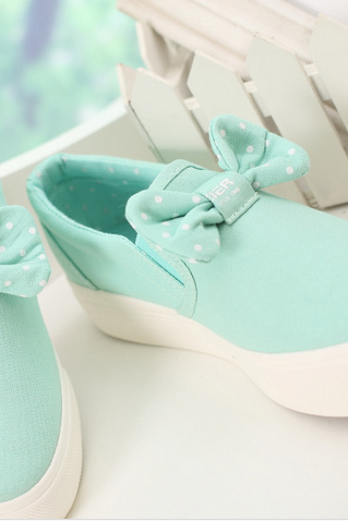 Cute bow canvas shoes