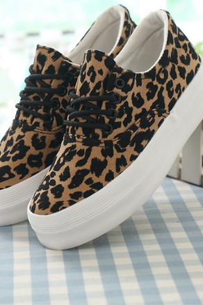 Leopard Print Canvas Sneakers with Thick Platform