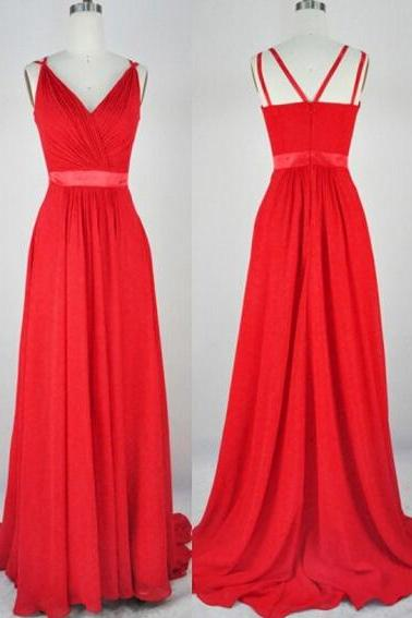 Gorgeous Red Chiffon Handmade V-neckline Floor Length Prom Dresses 2015, Red Prom Dresses 2015, Evening Dresses, Formal Dresses